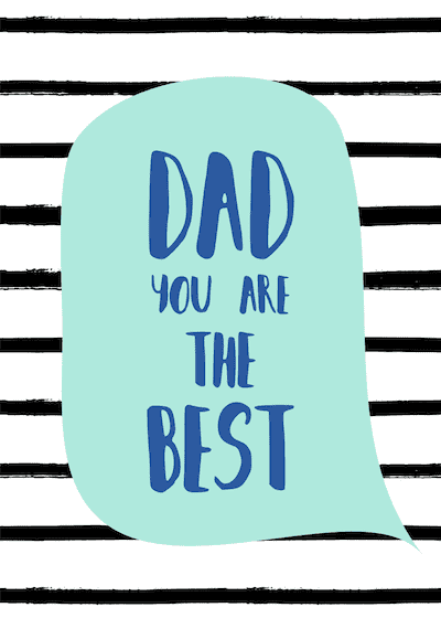 Printable Fathers Day Cards Best Dad Black Stripes