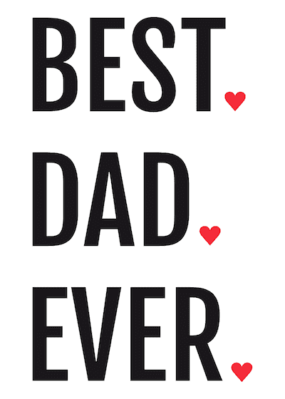 Printable Fathers Day Cards Best Dad Ever Red Hearts