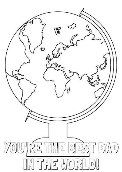 Printable Fathers Day Cards Best Dad World to Color