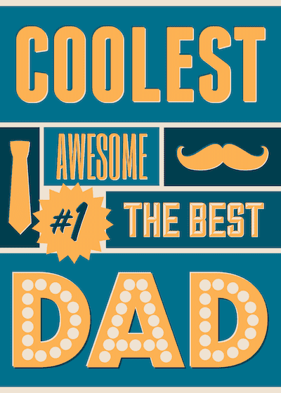 Printable Fathers Day Cards Coolest Best Dad Poster