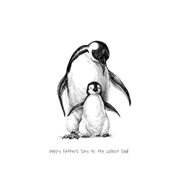 printable father's day cards - Coolest Dad (Penguins)