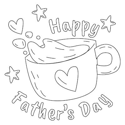 Printable Fathers Day Cards Cup Coffee Hearts to Color