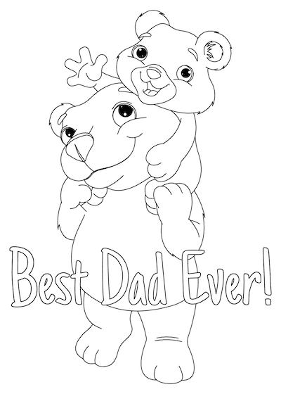 Printable Fathers Day Cards Cute Bear Cub to Color