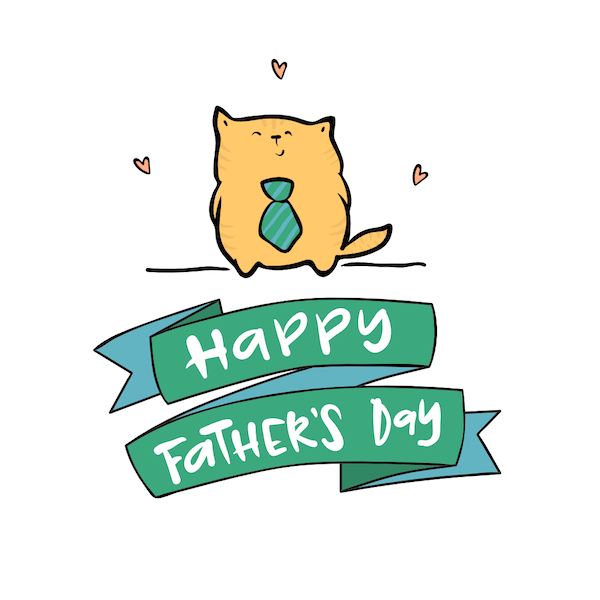 printable father's day cards - Cute Cat