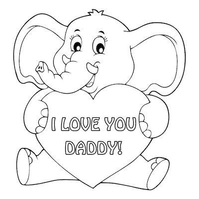 Printable Fathers Day Cards Elephant Heart to Color