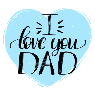 Printable Fathers Day Cards Love You Dad Blue Heart