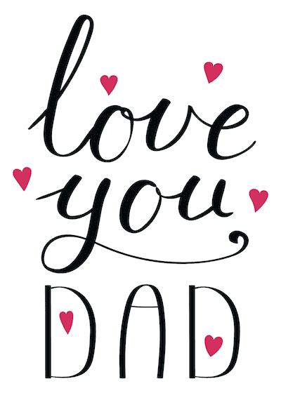 Printable Fathers Day Cards Love You Dad Red Hearts