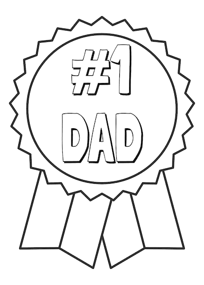 Printable Fathers Day Cards Number 1 Dad Ribbon to Color