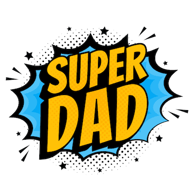 Printable Fathers Day Cards Super Dad Comic Yellow Blue
