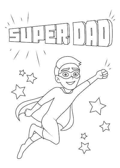 Printable Fathers Day Cards Super Dad Stars to Color