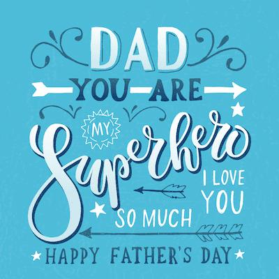 Printable Fathers Day Cards Superhero Word Art