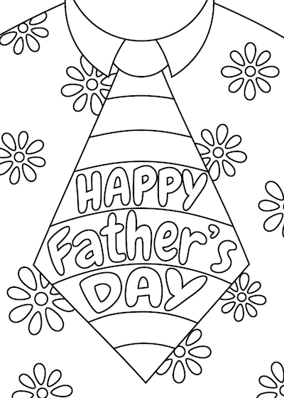 Printable Fathers Day Cards Tie Flower Shirt to Color