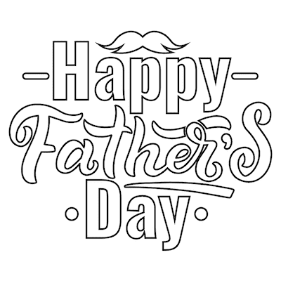 Printable Fathers Day Cards Word Art to Color