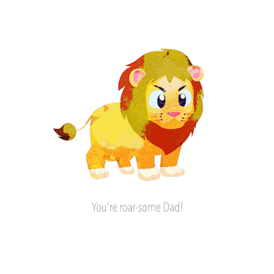 Printable Fathers Day Cards Youre Roar Some Dad Lion