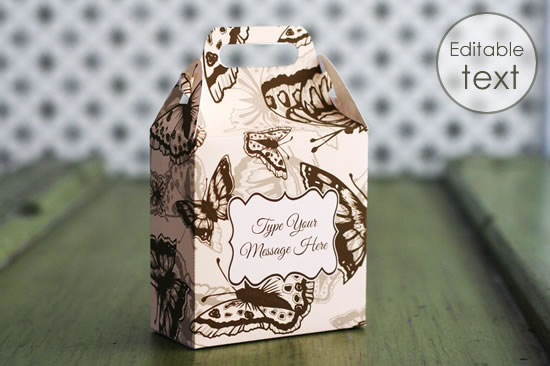 printable gift boxes - butterfly gable box