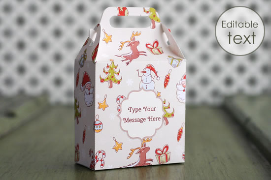 printable gift bag with christmas paper pattern