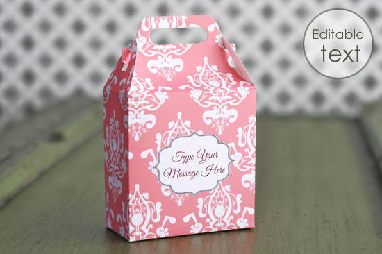 printable gift bag with print damask pattern