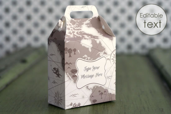 printable gift bag with vintage map pattern