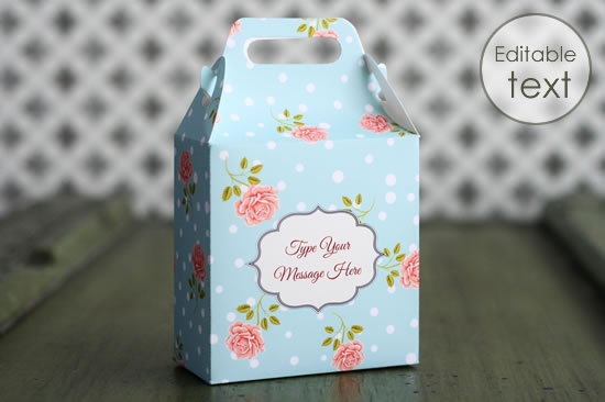 printable gift bag with roses pattern