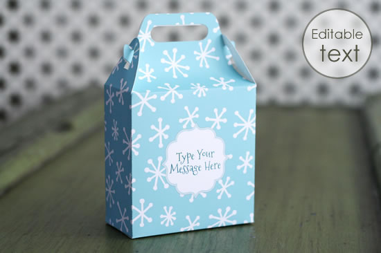 printable gift bag with christmas snowflakes pattern