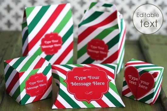 printable gift boxes with candy stripe pattern