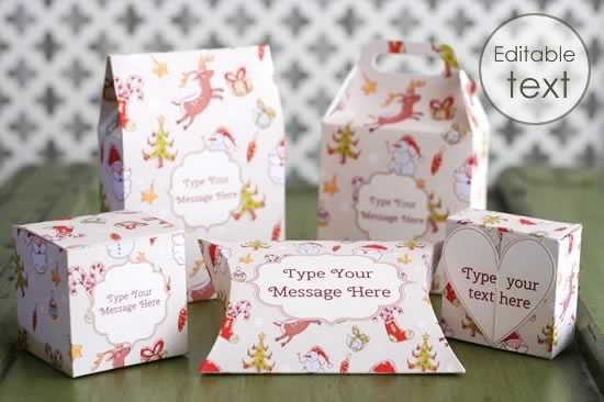 printable gift boxes with Christmas pattern