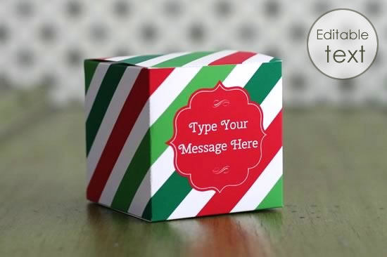 printable gift bag with christmas stripes pattern