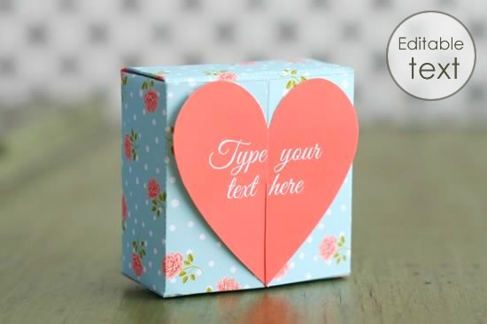 Printable Gift Bag With Roses Pattern Download Heart Boxes
