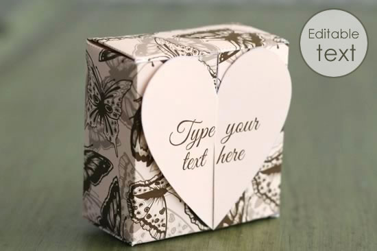 printable gift boxes - butterfly heart box