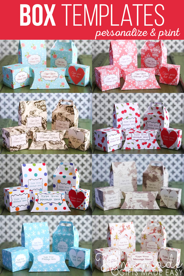 Beautiful printable gift boxes for instant download.