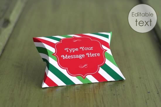 Free Pillow Box Template Christmas Stripes