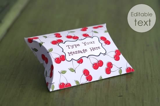 printable gift bag sweet cherries pattern