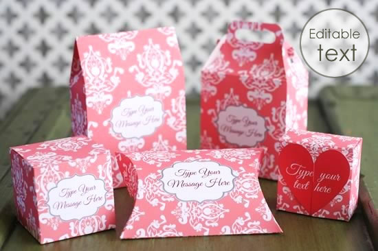 printable gift boxes pink damask set