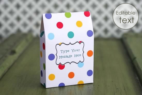 printable gift bag with polkadots pattern