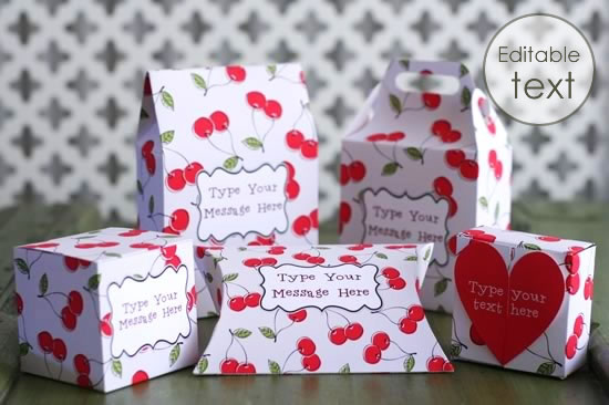 printable gift boxes cherries set