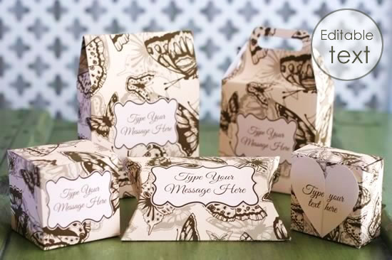 printable gift boxes vintage butterfly matched set