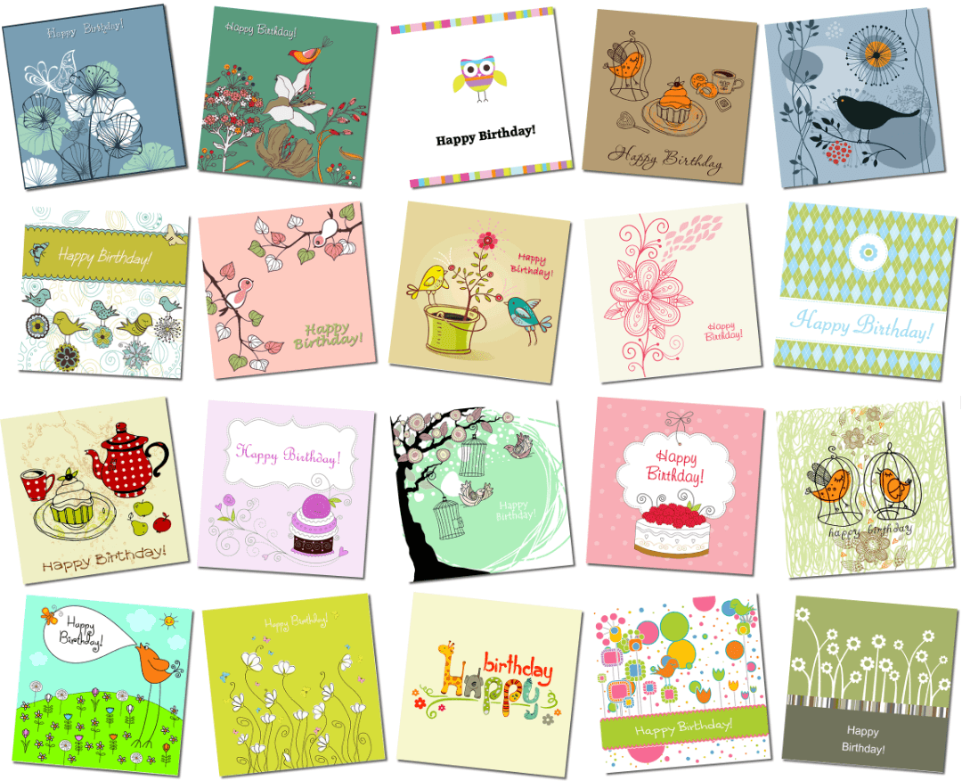 printable happy birthday cards - 20 designs