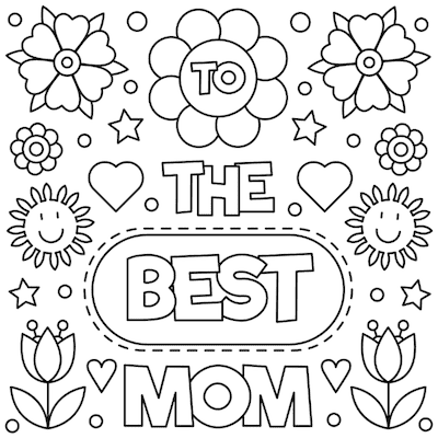 Printable Mothers Day Card 5x5 Best Mom Coloring