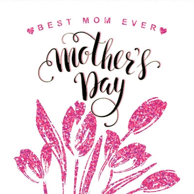 Printable Mothers Day Card 5x5 Best Mom Ever Pink Glitter