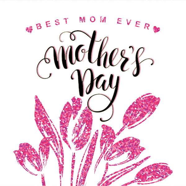 free printable mothers day cards - Best Mom Ever pink glitter