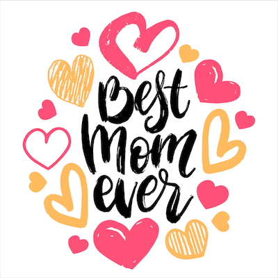 Printable Mothers Day Card 5x5 Best Mom Hearts