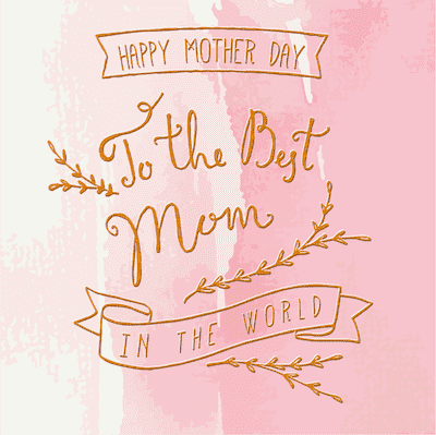 Printable Mothers Day Card 5x5 Best Mom Pink Gold