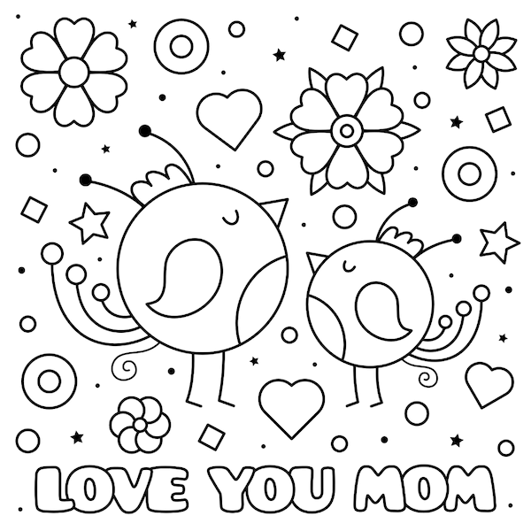 free printable mothers day cards - birds and flowers coloring