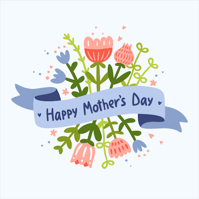 Printable Mothers Day Card 5x5 Blue Banner Flowers