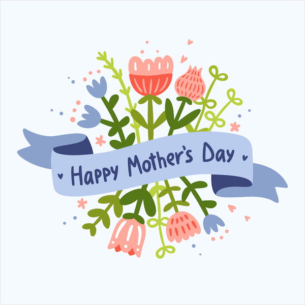free printable mothers day cards - blue banner and flowers