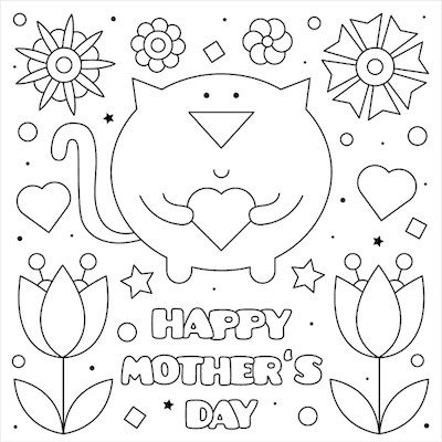 Printable Mothers Day Card 5x5 Cat Heart Coloring