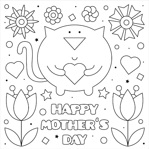 free printable mothers day cards - cat heart coloring