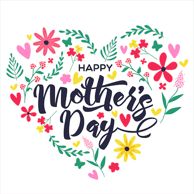 Printable Mothers Day Card 5x5 Floral Heart