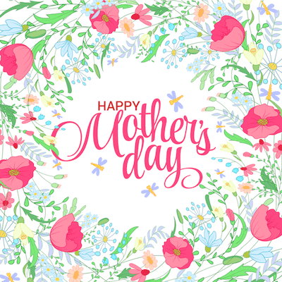 Printable Mothers Day Card 5x5 Flower Border