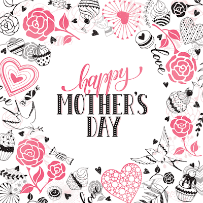 Printable Mothers Day Card 5x5 Flower Sweets Border